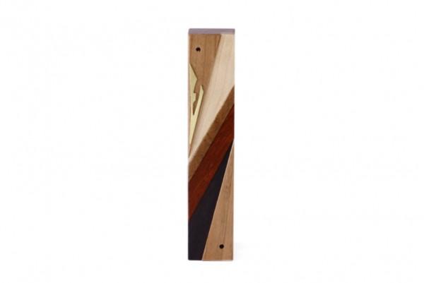 Wooden Mezuzah-Designer Reversi-Wood Mezuzah Case-Jewish Gift-Small-Cherry-Maple-Sapelli-Paduak-Ebony-Brass-MEZ-DR-S-O
