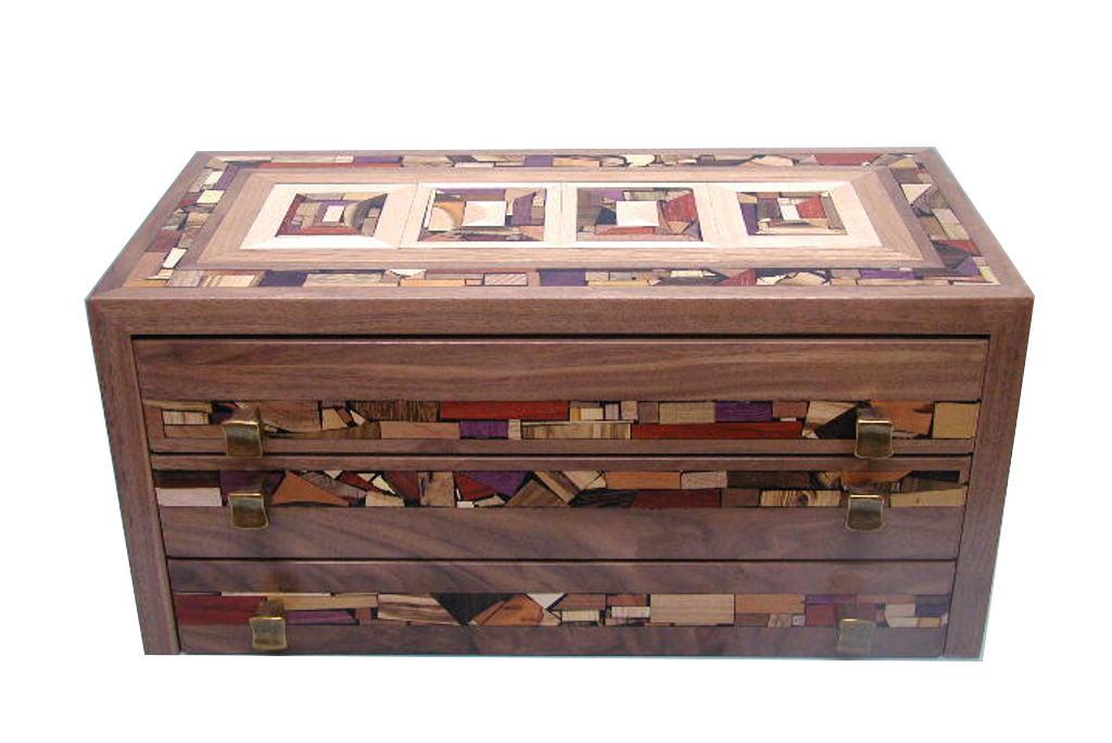 Wood Drawer Boxes ~ Three drawer mosaic jewelry box decorative organizer