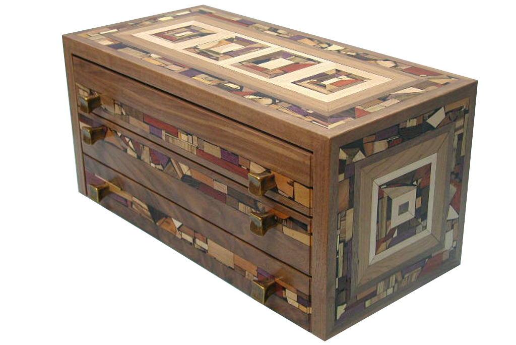 Three drawer mosaic jewelry box decorative organizer