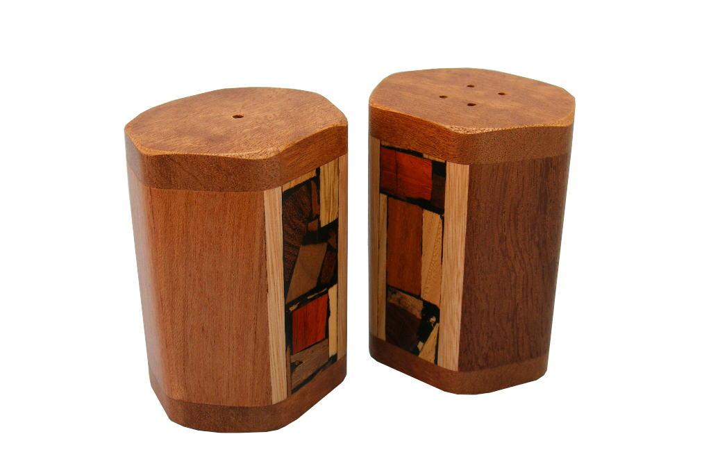 Wooden Mosaic Salt Amp Pepper Shakers Decorative Salt