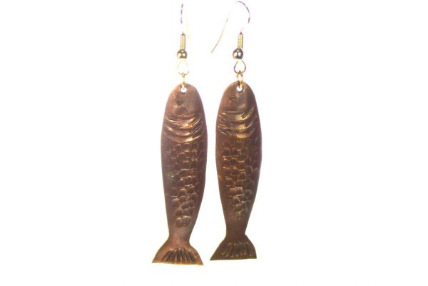 Copper Fish Earrings - Long & Light Earrings - Animal Jewelry - EARRINGS-CopperFish-7-Copper