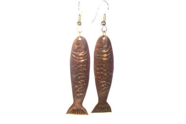 Copper Fish Earrings - Long & Light Earrings - Animal Jewelry - EARRINGS-CopperFish-7-Copper