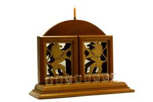 Designer Lion Menorah-Oil Menorah-Judaica Gift-MEN-L-O-dark-RWL-MG_3839