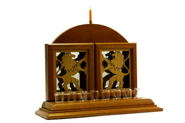Designer Lion Menorah-Oil Menorah-Judaica Gift-MEN-L-O-dark-RWL-MG_3839