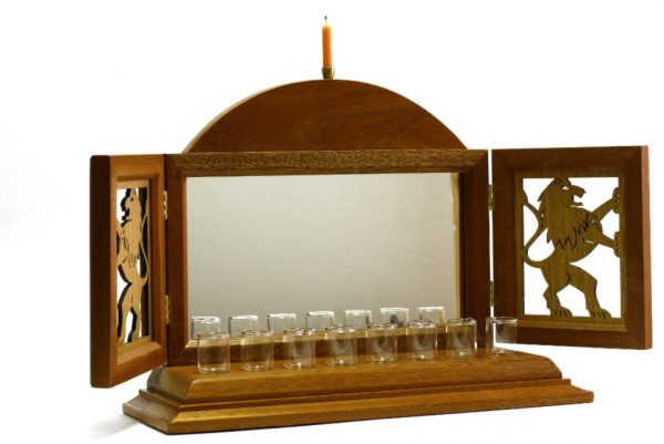 Open-Lion Menorah - Designer Hanukkah Menorah-Jewish Gift--Oil Hanukiah-MEN-L-O-O-RWL-MG_3837
