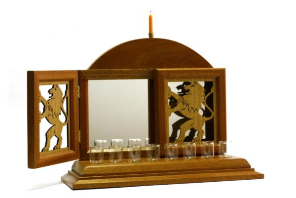 Lion Menorah- Hanukkah Menorah-Designer Wood Hanukiah-Jewish Gift-Open-MEN-0L-O-O-RWL-MG_3830