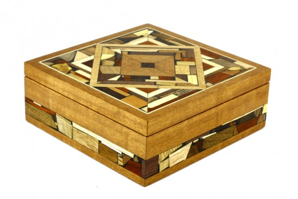 Large Mosaic Box-Wood Jewelry Box-Memory Box-BOX-18-drk-O