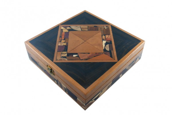 Large Mosaic Box-Wooden Jewelry Box- Memory Box-ebony and cherry woods
