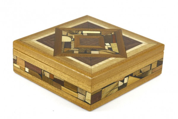 Large Mosaic Box-Wooden Jewelry Box-Memory Box-BOX-18-drk-O