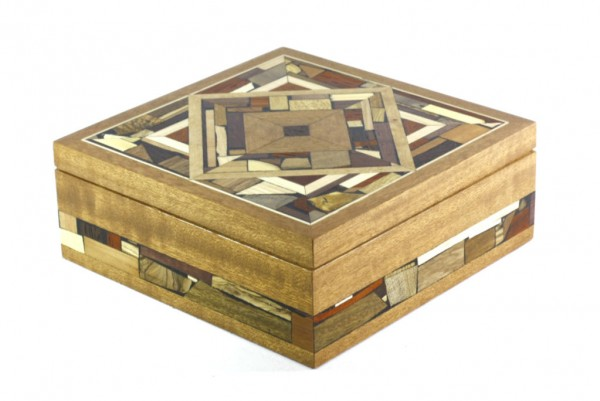 Mosaic Box-Wood and Wood Mosaic Memory Box-Jewelry Box-BOX-18-drk-O