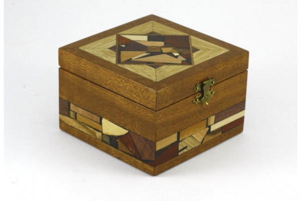 Small wood box decorated with multi wood mosaics. No stains or dyes.