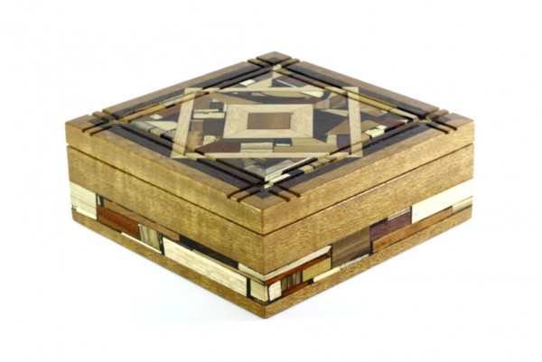 Wood & Mosaic Box-Large Wooden Jewelry Box-Special Gift Box-BOX-18-Dark-O
