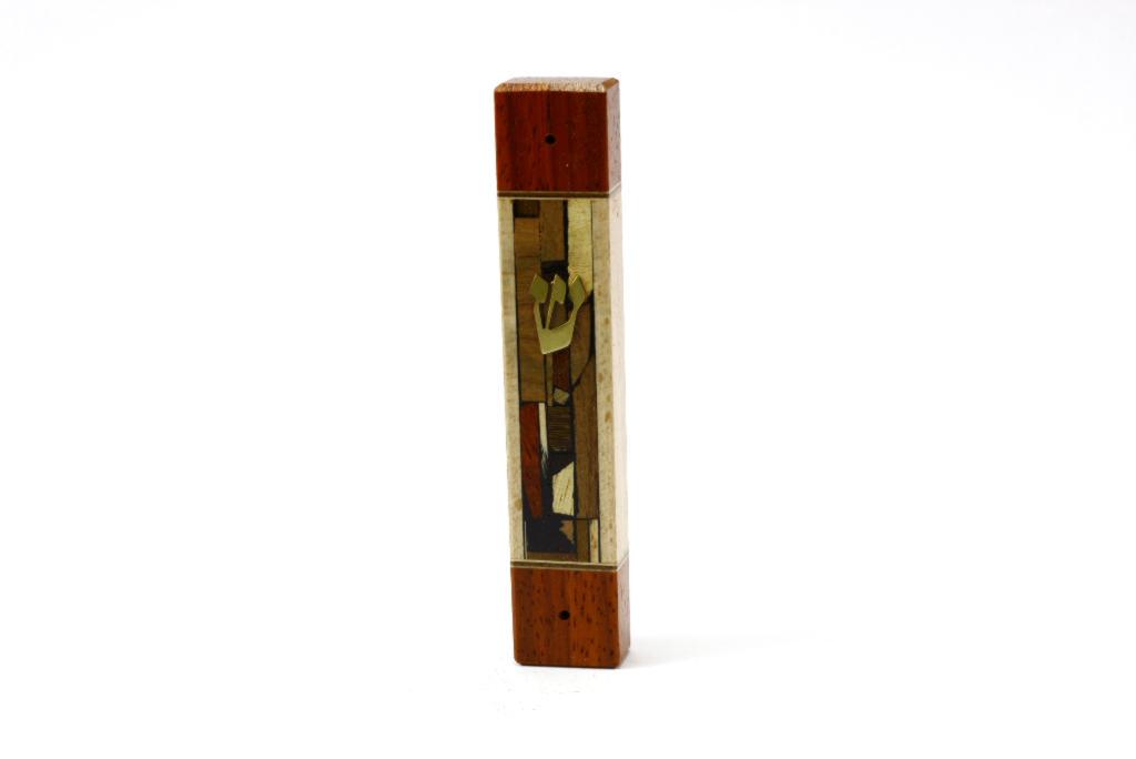 Mosaic Wide Mezuzah Case Wooden Mezuzah Jewish Gift