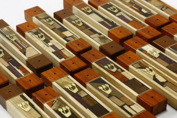 Mosaic Wide Mezuzah Cases-Wood Mezuzahs-Jewish Housewarming Gift-MEZ-MW-S-many-RWL-MG_3613