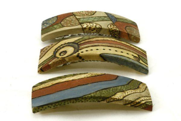 Art Deco Barrettes - Wooden Barrettes - BoHo Barrettes- BARRETTES-ArtDeco-1,2,3-O-CLR-MG_4174