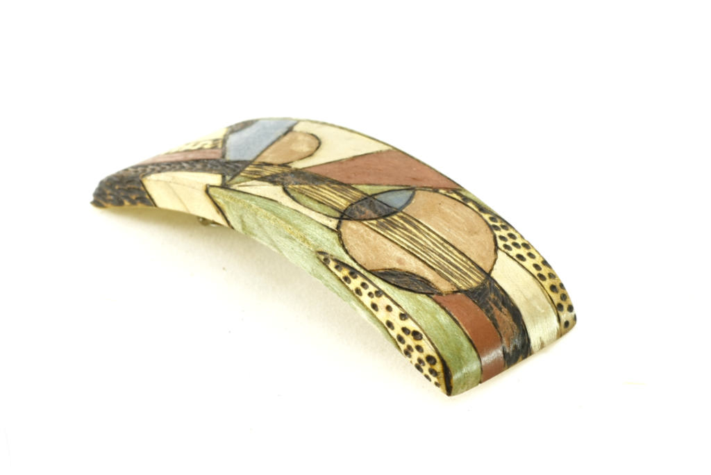 Art Deco Barrette- Womens Hair Accessory-Painted Wooden Barrette-BARRETTE-ArtDeco-9-maple-LCR-MG_4212