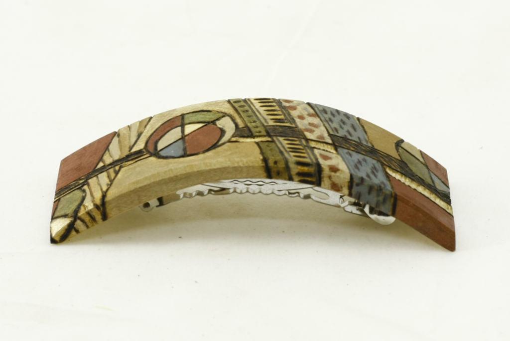 Colorful Wooden Barrette-Art Deco Barrette- Teen Gift-BARRETTE-ArtDeco11-O-O-RWPC-MG_4222