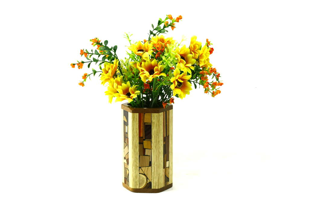 Mosaic hex vases w glass liner designer wooden flower vase - Great decorative flower vase designs ...