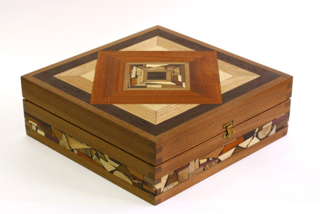 Mosaic tea box tea bag selection box decorative wooden tea box - Decorative storage boxes ...