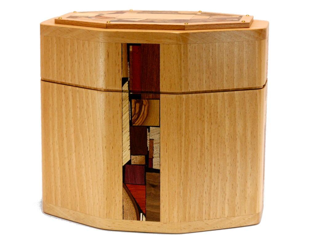 Octagonal Wooden Etrog Box-Octagonal Box w Mosaics-Judaica Gift-ETR-M8-O-Beech-RW-stTryWhiteBal 010