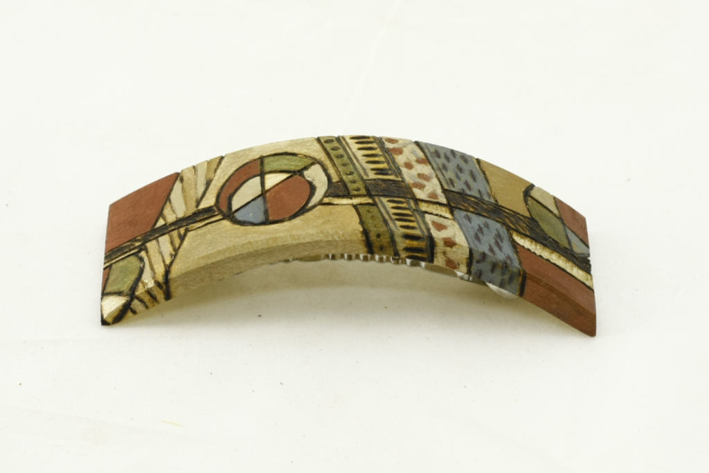 Wooden Barrette-Colorful Painted and Burned Barrette-Hair Accessory-BARRETTE-ArtDeco11-O-O-RWPC-MG_4223