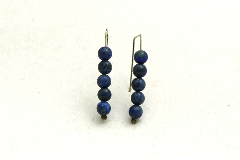 Simple & Elegant Earrings-Lapis 5 Stack-Blue Colored Jewelry-E-5StackLapis-4-sil-RWCL-_MG_4535