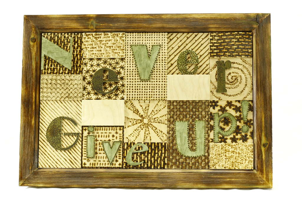 Wooden Wall Art-Never Give Up-Home Decor -Wood Sign-WALLART-Never-14x11-bbply-RWL-MG_4147