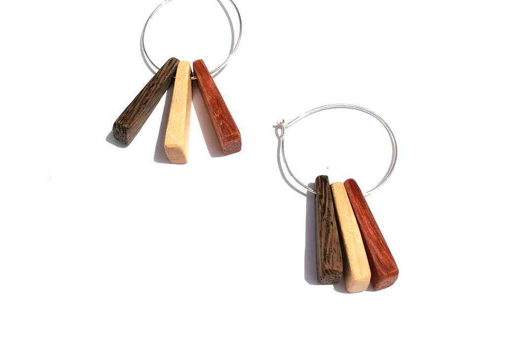 558a55edde4864 3 Woods on Hoop Earrings- Lightweight Wooden Earrings – Wood Jewelry  -Naturally Colored Earrings