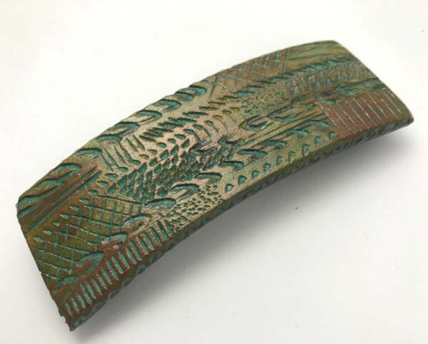 Teal-on-Bronze-Wooden-Barrette-Must-Have-Hair-Accesory-for-Long-Hair-Decorated-Wood-Barrette-Hair-Clip-BAR-45TealTracks-O-O-RWCL-IMG_3657.jpg