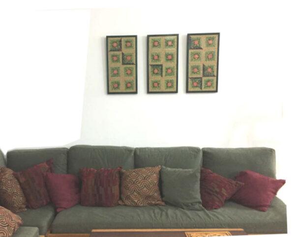 Triptych-Colored-Wall-Quilt-Greens-Pink-Home-Decor-Wall-Art-FA-TriptychWallQuilt-56x30-Pine-RWBCrT-IMG_0328.jpg